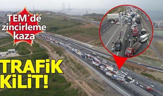 TEM'deki zincirleme kaza trafiği kilitledi