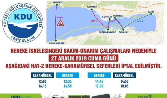 Hat 2 Hereke - Karamürsel deniz seferlerine 1 gün ara