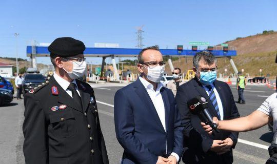 Vali Seddar Yavuz, Kuzey Marmara Otoyolunda denetimlerde bulundu.