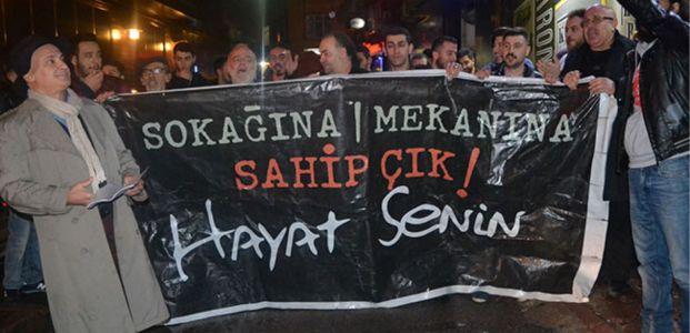 Barlar sokağı esnafı eylem yaptı