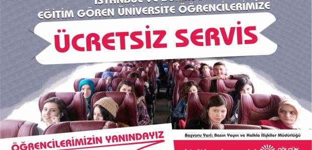 Gölcük'te ücretsiz öğrenci servisi