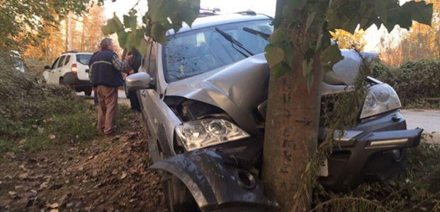 Otomobil direğe çarptı:3 yaralı