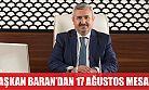 Başkan Baran'dan 17 Ağustos mesajı
