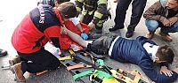 Ayağı janta sıkışan motosiklet sürücüsü yaralandı