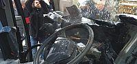 Minibüs seyir halindeyken yandı
